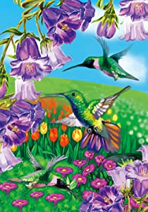 Texupday Flying Hummingbird Flowers Decoration Spring House Flag Outdoor Yard Flag 28