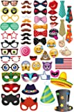 Ohlily Photo Booth Props 58 PCS with Emojis for Birthday Reunions Weddings Parties