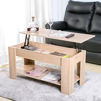 Leisure Zone Lift Up Top Coffee Table With Storage And Shelf