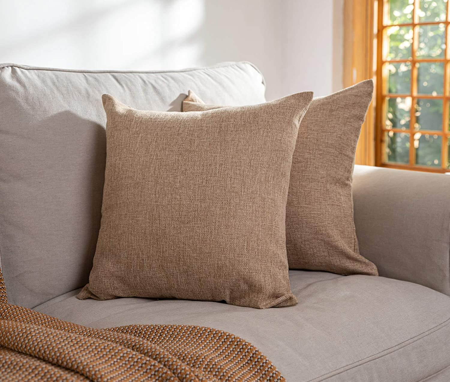 Elara Star Set of 2 Cotton Linen Throw Pillow Cases Solid Square Decorative Pillow Covers 18x18 Inch for Couch Sofa Bed Chair,Natural Linen