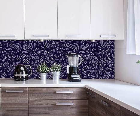 wandmotiv24 Küchenrückwand Abstraktes Fantasie Blumenmuster ...
