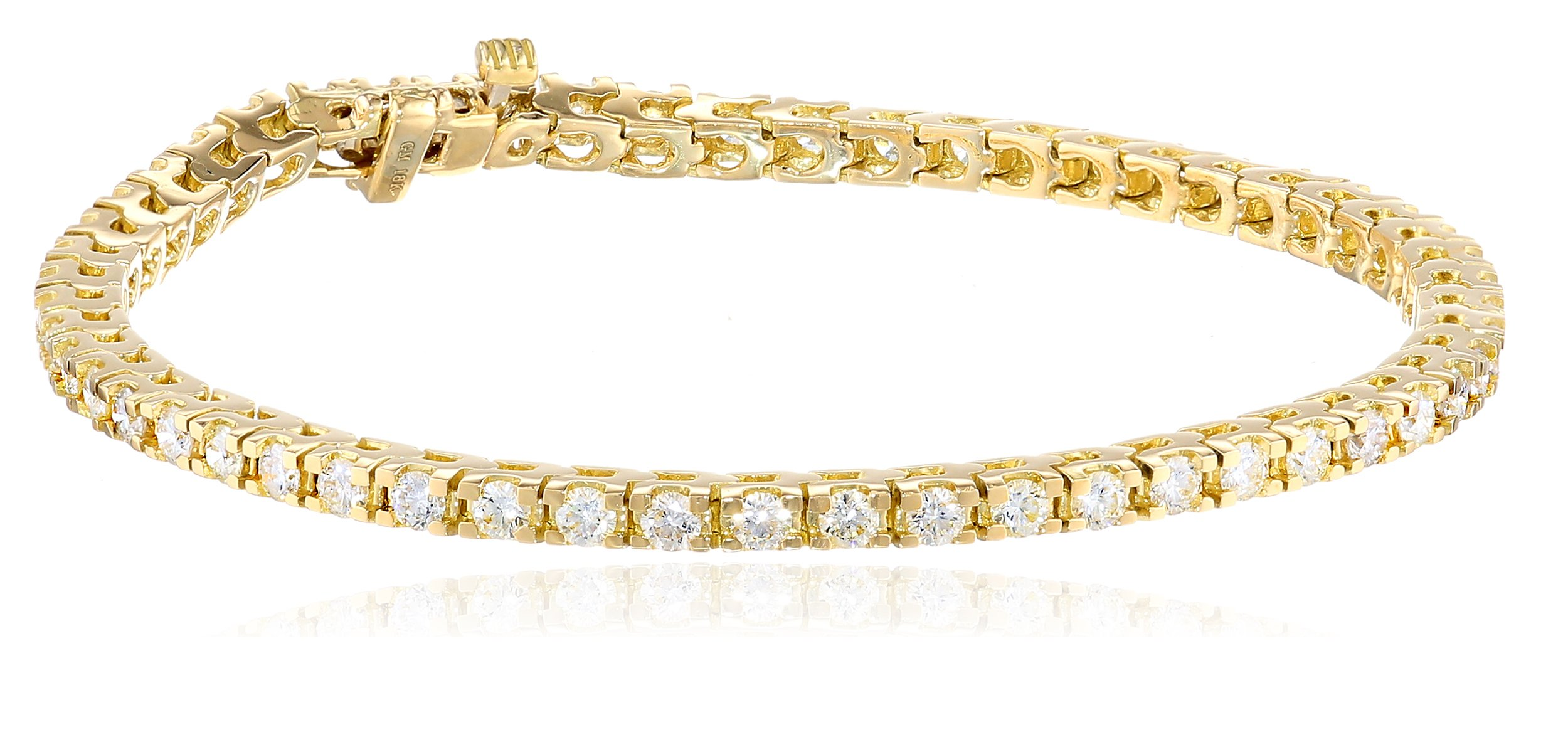 IGI Certified 18k Yellow Gold 4-Prong Diamond Tennis Bracelet (3.0 cttw, H-I Color, SI1-SI2 Clarity), 7''