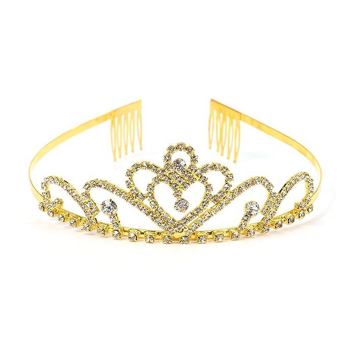 RIVERTREE Traje de oro corona de princesa con peine para niñas y mujeres Tiara nupcial de novia de cristal: Amazon.es: Ropa y accesorios
