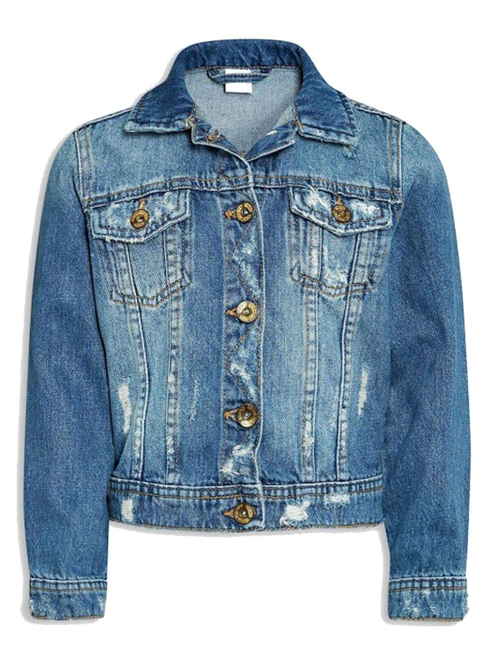 Khanomak Kids Girls Denim Distressed Button up Jacket (Size 5/6, MediumBlue)