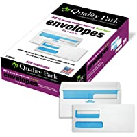 Quality Park #8-5/8 Double Window Security Tinted Check Envelopes with a Self Seal Closure, 24 lb White Wove, 3-5/8 x 8…
