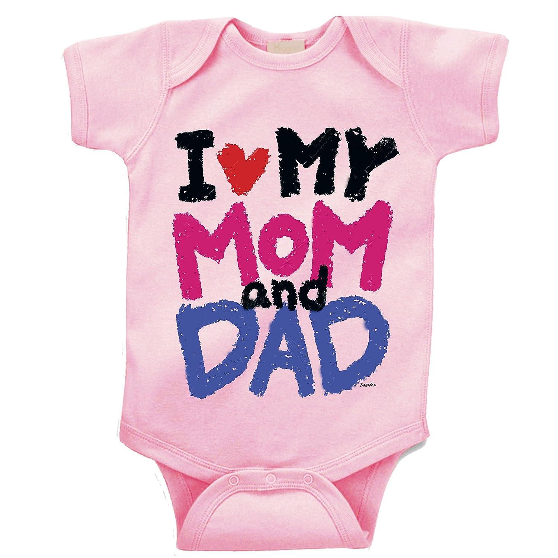 TripleBDesigns I Love My mom and dad Custom Boutique Baby Bodysuit Onesie. 10507z