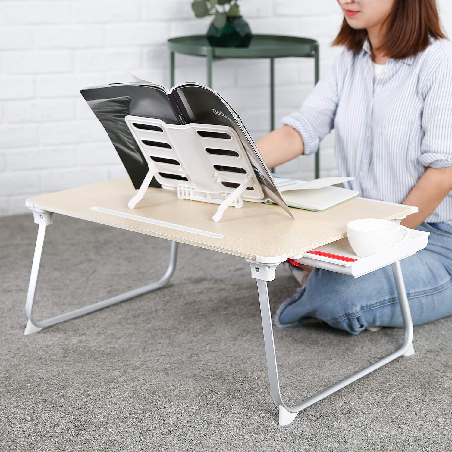 AUKEY Laptop Bed Table (Large Size) Foldable Portable Laptop Stand with Aluminum Alloy Legs, Book Stand and Drawer for Reading, Writing, and Working by AUKEY (Image #5)