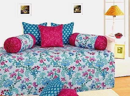Salona Bichona 100% Cotton Satin Vivatera Blue Colored Abstract Diwan Set Set.