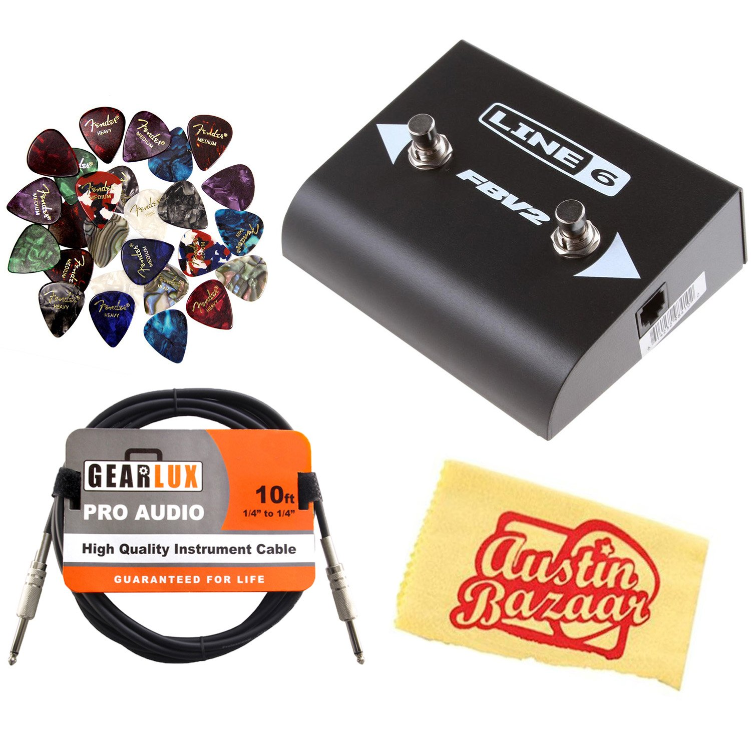Line 6 FBV 2 2-Button Foot Switch Bundle with Instrument Cable, 24 Picks, and Austin Bazaar Polishing Cloth