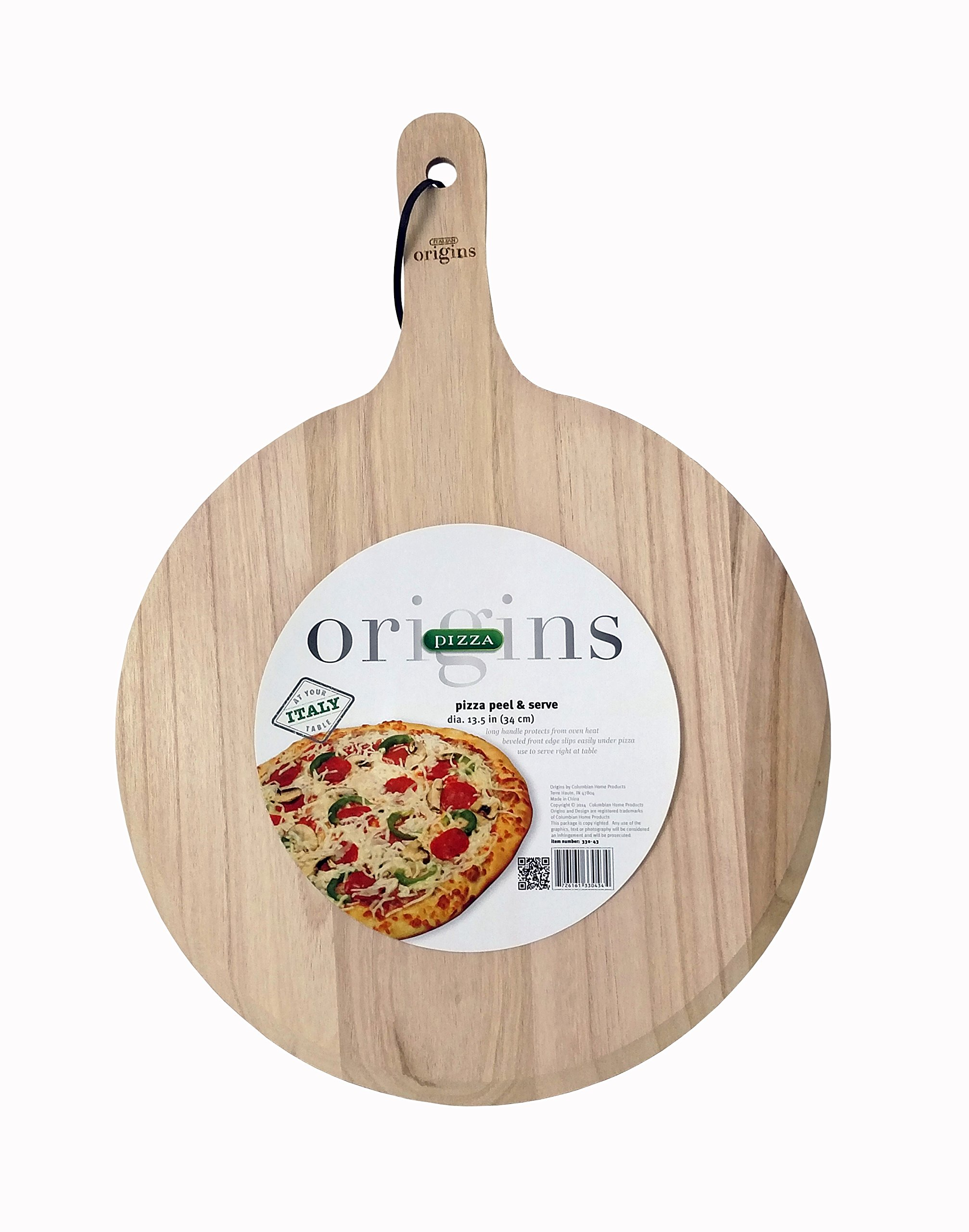 Italian Origins Round Pizza Peel, Wood, 13 by 21-Inch