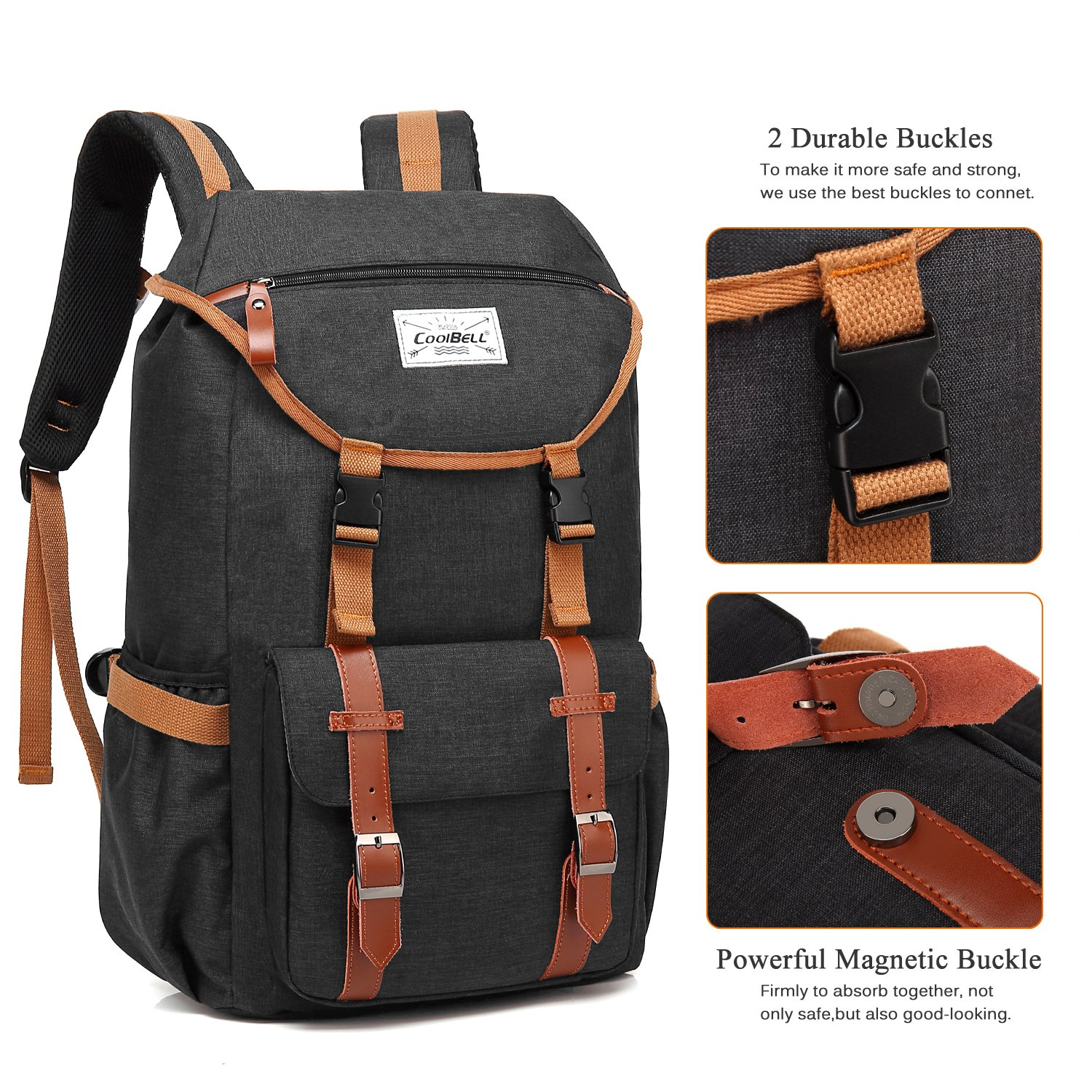 Travel Backpack CoolBELL 17.3 Inches Laptop Backpack Leisure Outdoor Rucksack Hiking Knapsack School Daypack Multi-functional Business Bag For School/College/Men/Women (38L, Black) by CoolBELL (Image #4)
