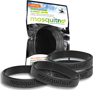 Mosquitno Natural, Citronella, Waterproof Mosquito Repellent Wristbands, Adult, 5-Pack,  Black