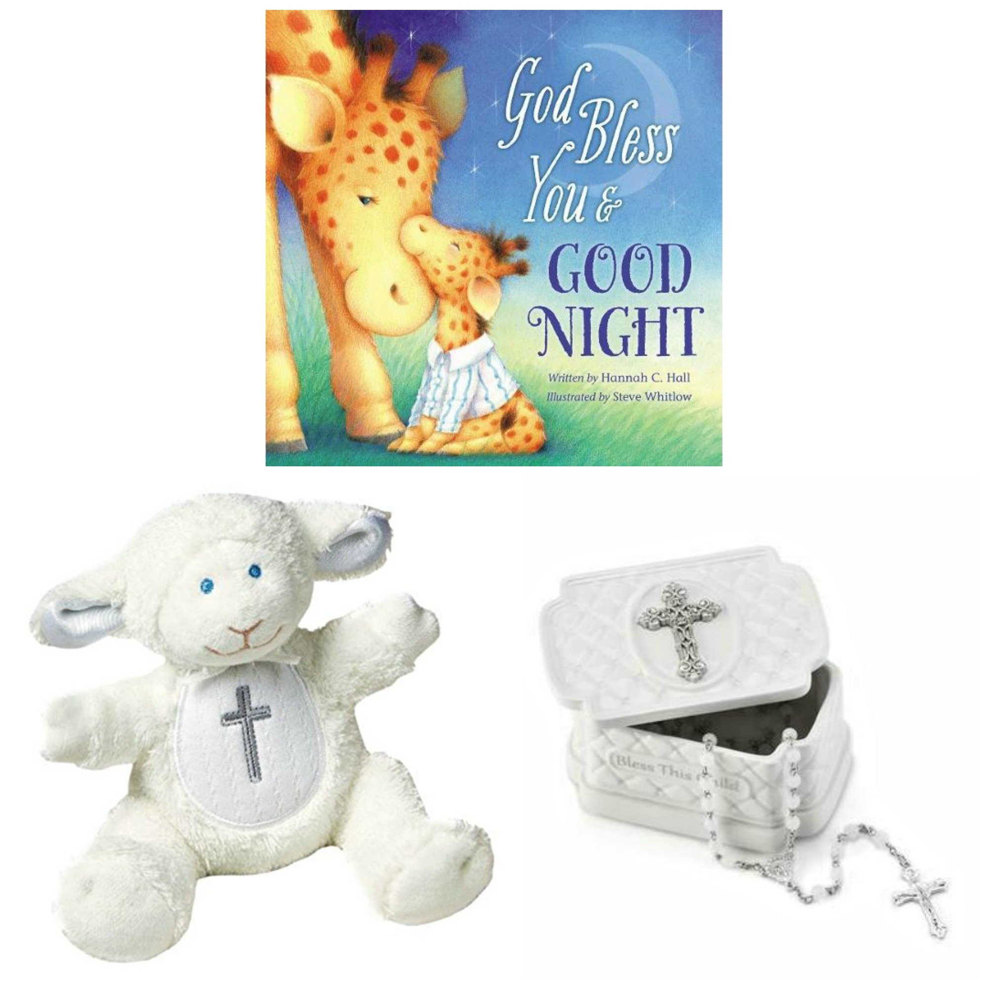 Baby Christening Baptism Gift Set – Keepsake Box Rosary Lamb and God Bless You & Goodnight Book