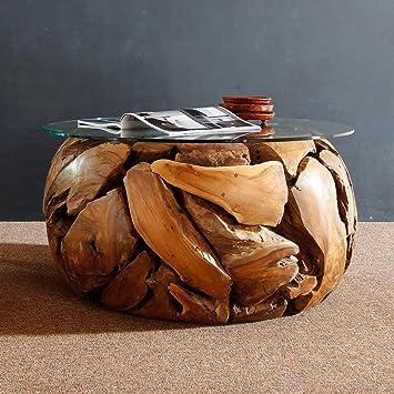 Hochwertig Teak Couchtisch Rund Mit Glasplatte XILON Teakholz Wurzeltisch Massiv  Handarbeit Unikat | Tisch Holz Treibholz Massiv