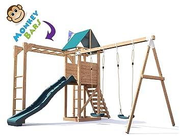 Monkey Bars Climbing Frame Pressure Treated Playhouse Wave Slide Swing Set Monkeyfort Woodland