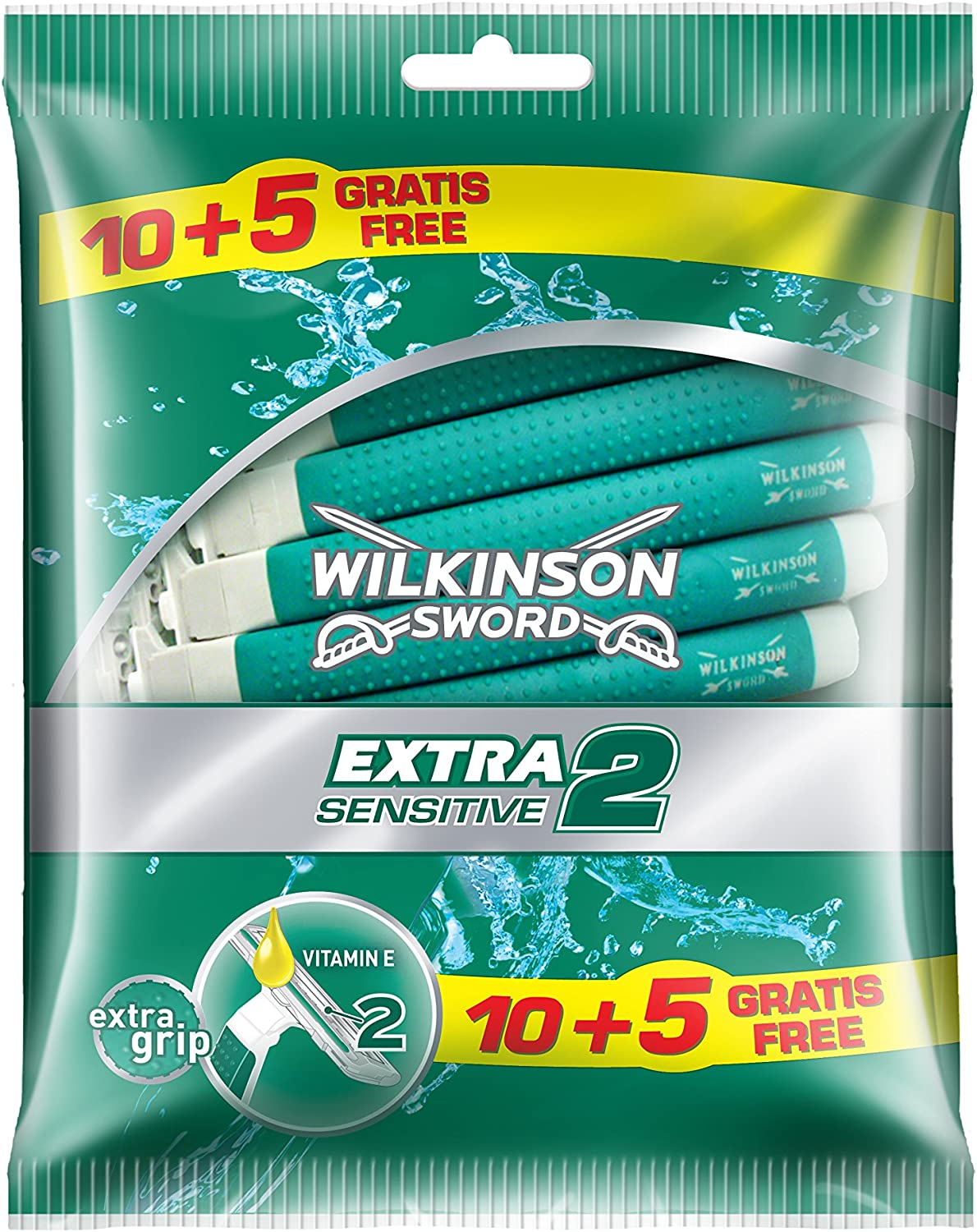 Wilkinson Sword Extra 2 Sensitive - máquinas desechables, 10 + 5 unidades