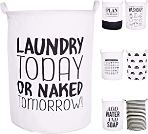 """CAM2 21.6"""" Laundry Baskets Collapsible Waterproof Cotton Linen Foldable Laundry Hampers Household Organizer Baskets with Handles (Today)"""