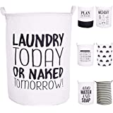 """CAM2 21.6"""" Laundry Baskets Collapsible Waterproof Cotton Linen Foldable Laundry Hampers Household Organizer Baskets with…"""
