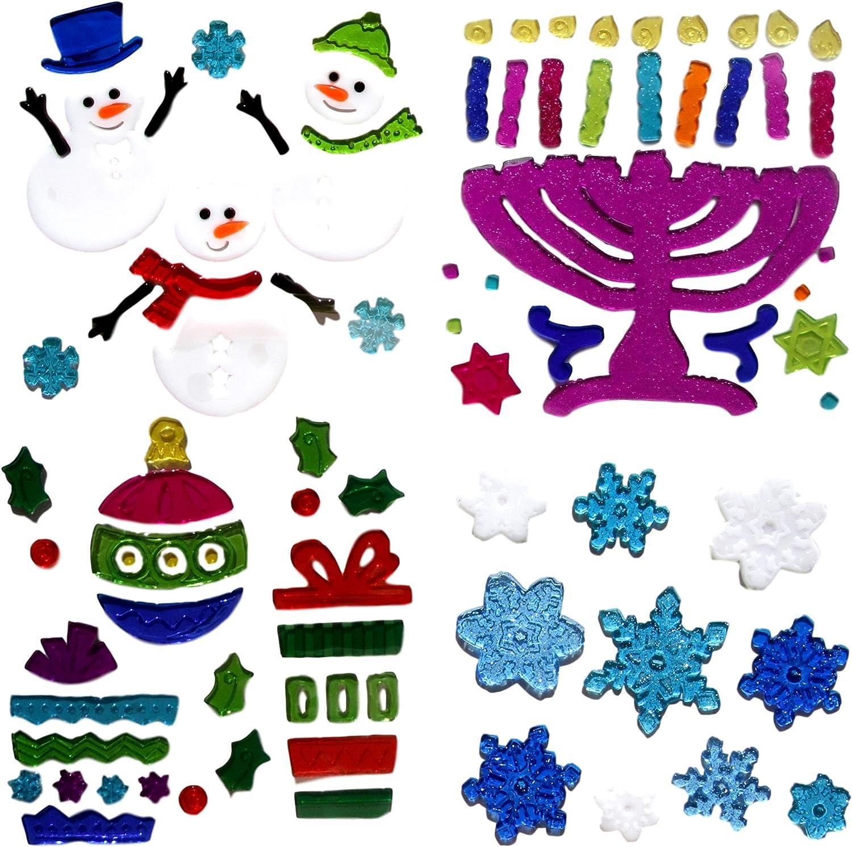 Winter Treasures Happy Hanukkah Window Cling Decorations 2 Menorahs and 2 Dreidels