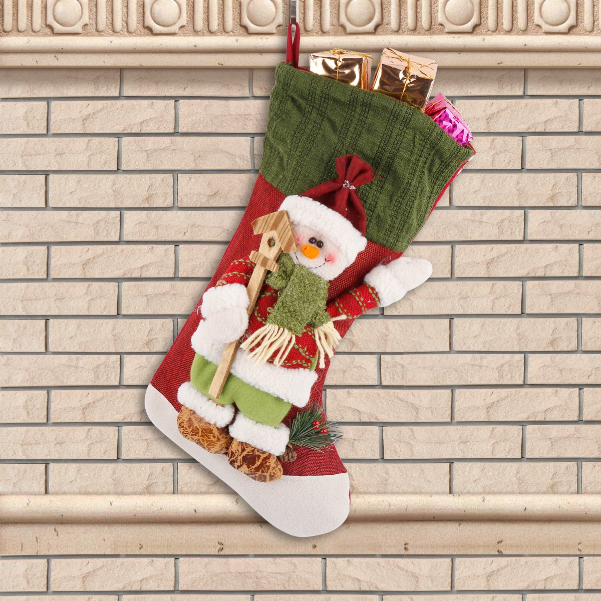 Moonmini 3d grande decorazione Natale Calza idea regalo Hanging Bag Cute Novelty Ornament Craft (Pupazzo di neve)