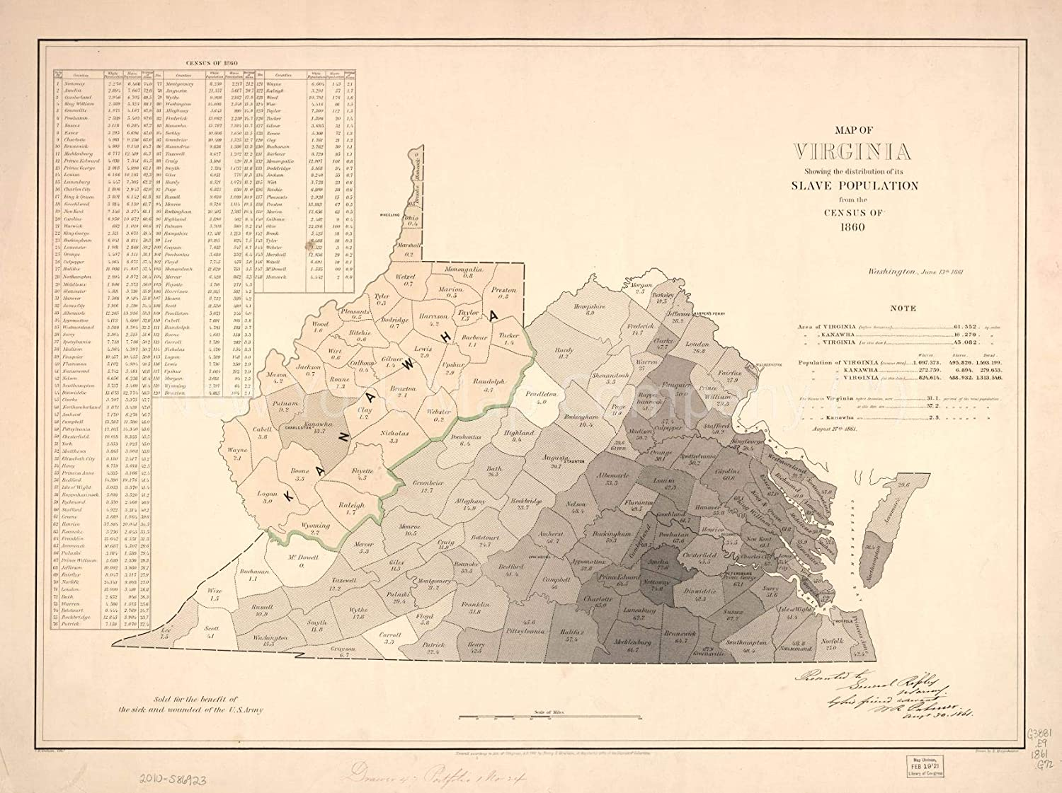 Amazon.com: 1861 Virginia: Showing The Distribution of Slave ... on