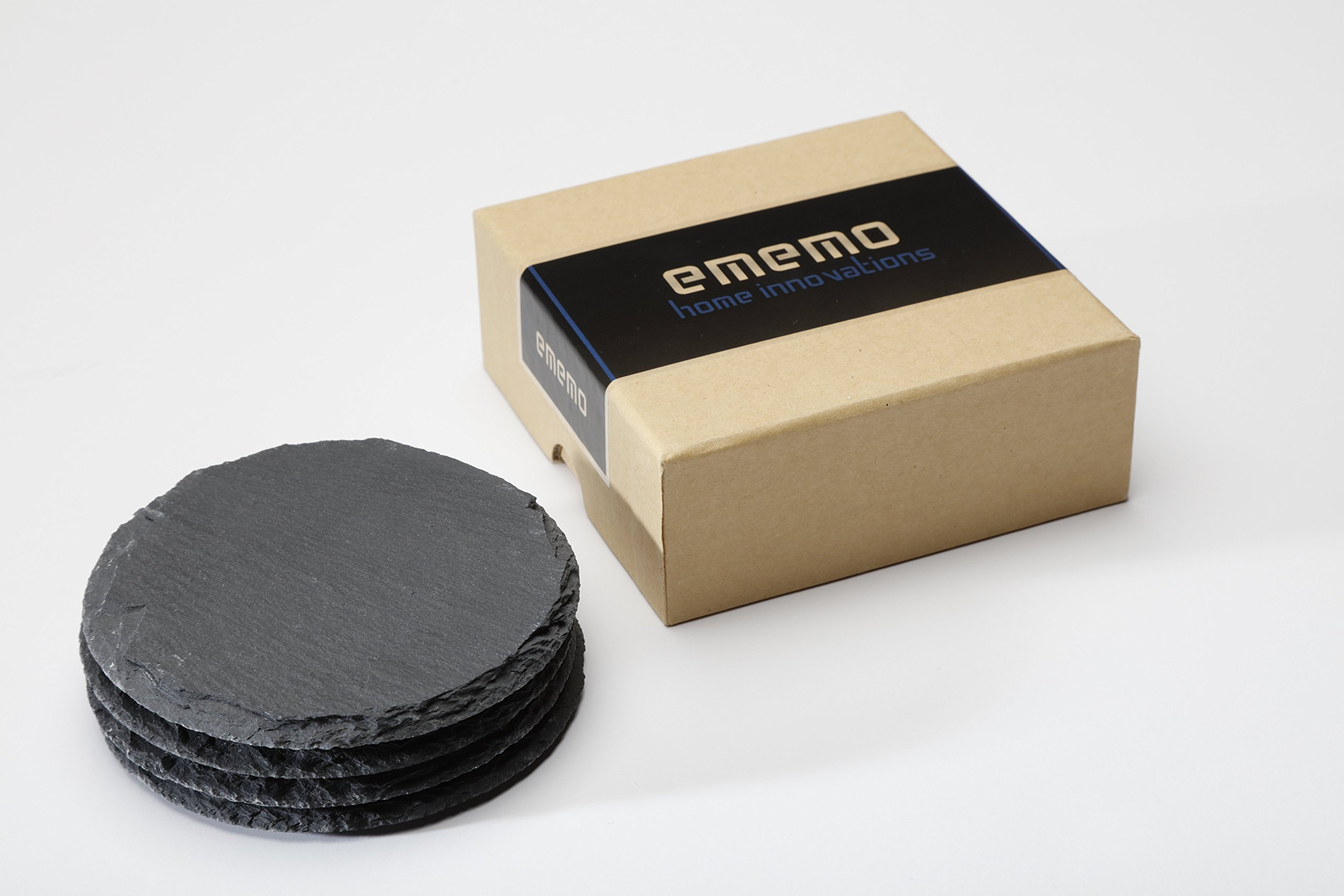 Round Slate Coasters by EMEMO® - Set of 4 Unique, Handmade Coasters For Drinks, Beverages, Wine Glasses - Elegant Look & Unmatched Furniture Protection - Made Of Genuine Black Slate