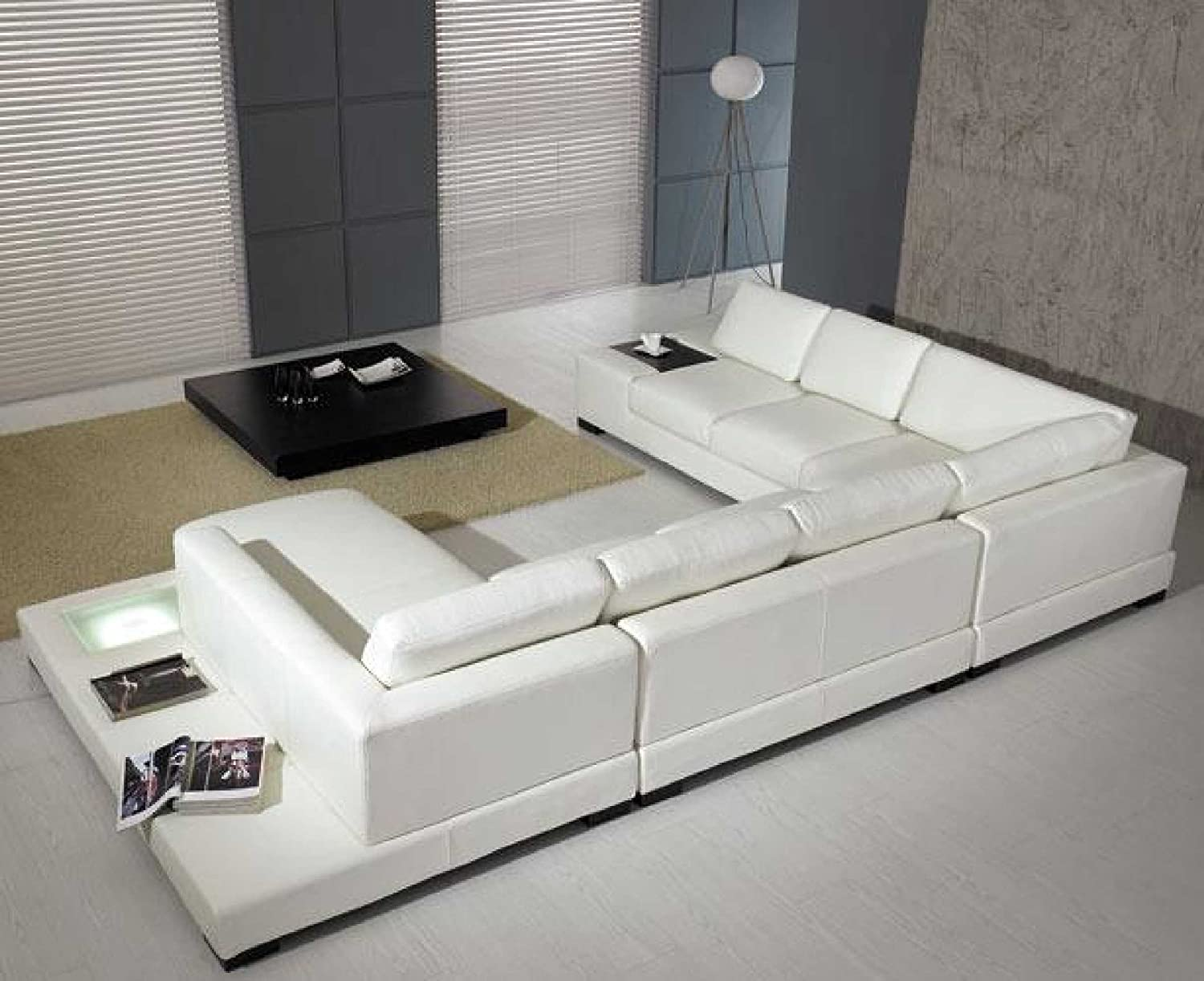 Amazon.com: T35 - White Bonded Leather Sectional Sofa Set with Light ...