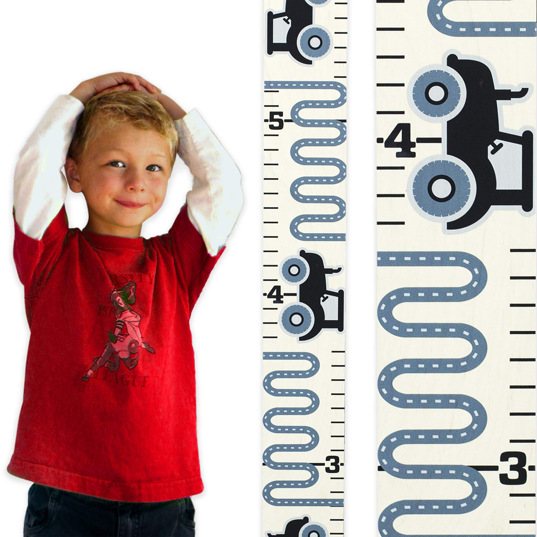 Growth Chart Art | Wooden Growth Chart Ruler for Boys | Growth Chart Ruler Kids Height Chart | Measuring Kids Height Wall Decor for Boys | Gray Tractor