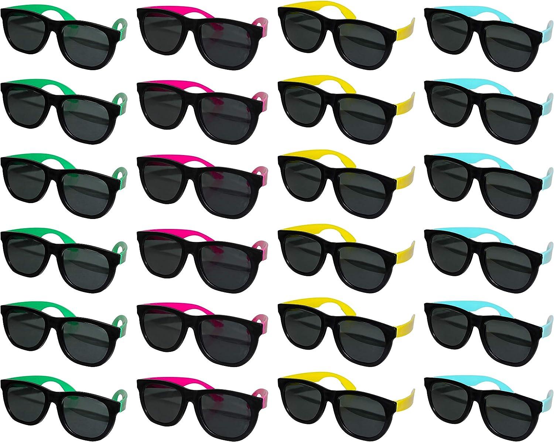 BELLE VOUS Gafas de Sol Negras (Paquete De 24) - Gafas de Sol Unisex Azul, Rosa, Verde Amarillo Marco para Gafas de Sol de Verano, Moda, Piscina en la Playa para Adultos