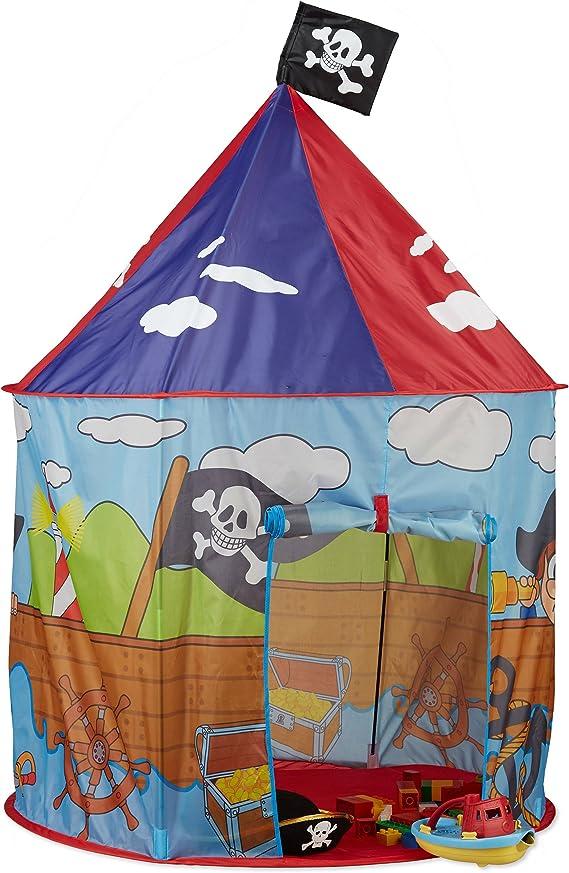 Relaxdays Tienda Pirata Grande con Bandera, Casa Juguete Niños ...