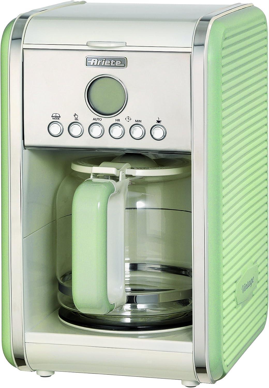 Ariete 1342 Cafetera de goteo vintage, 2000 W, ACERO INOXIDABLE, Verde