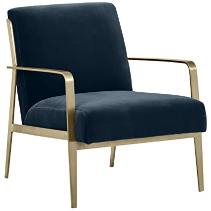 Rivet Clover Modern Glam Velvet Brass Arm Accent Chair, ...