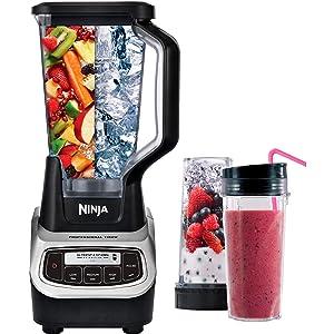 Ninja BL621 Professional Blender & Nutri Ninja Cups 1100 Watts, Black (Renewed)