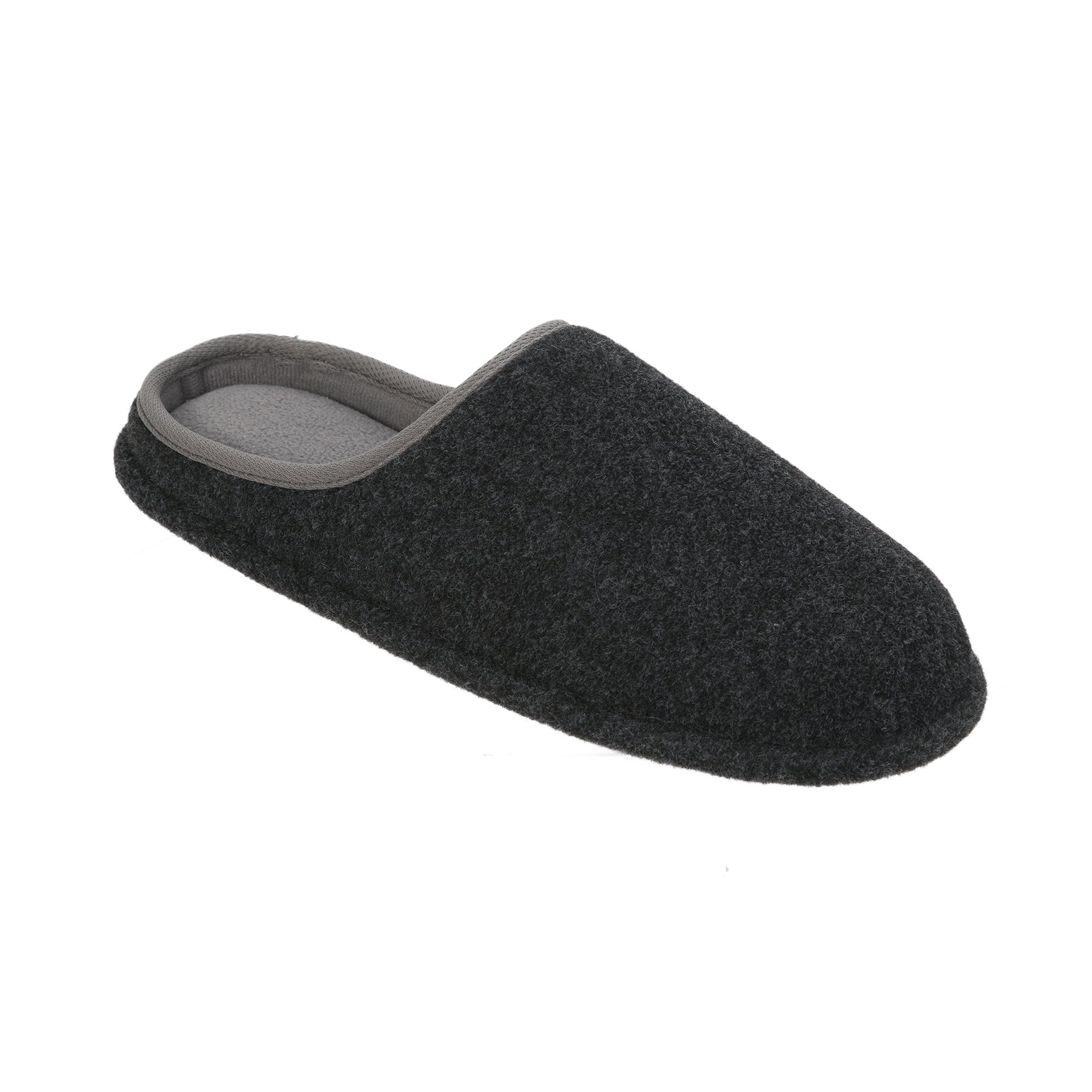 Dearfoams Men's Memory Foam Felt Clog Slippers (Large 11-12, Black)