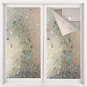 ACMETOP Window Film Privacy, No Glue Stained Glass Window Film, Heat Control Anti UV Privacy Window Film, Removable Rainbow Window Film for Kitchen, Office, Living Room, 17.5 in x 78.7 in
