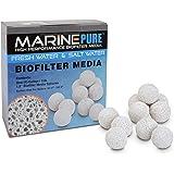 CerMedia MarinePure 1.5 英寸球体生物过滤介质适用于海洋和淡水水水族箱,1 加仑