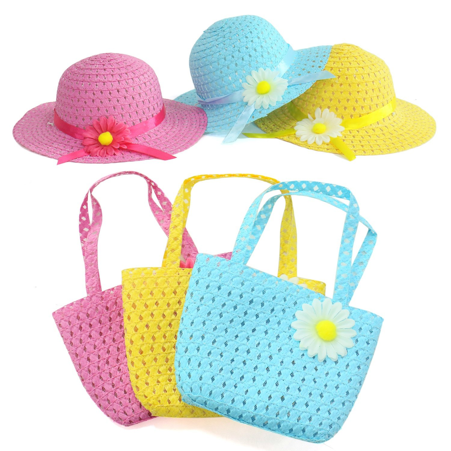 Girl's Straw Hat and Purse Sets Tea Party Hat Sets,3 Purses,3 Daisy Flower Sunhats(Blue,Yellow,Pink)