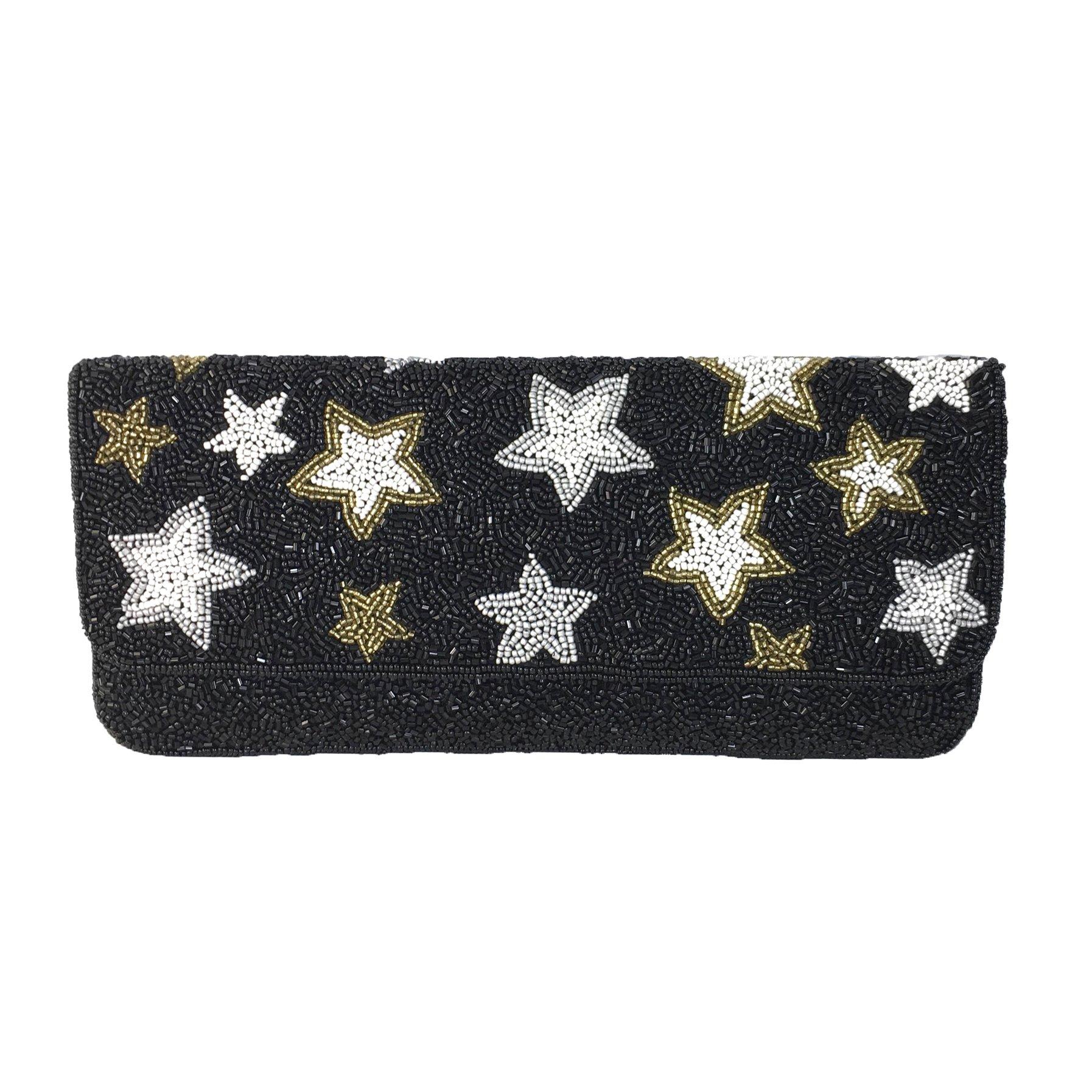 From St Xavier Starry Night Celestial Stars Beaded Clutch, Black Multi