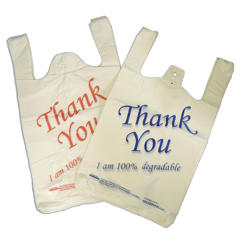 /Large Blanc//bleu Thank You 100/% biod/égradables Eco Sacs en plastique Eposgear/® Lot de 100/