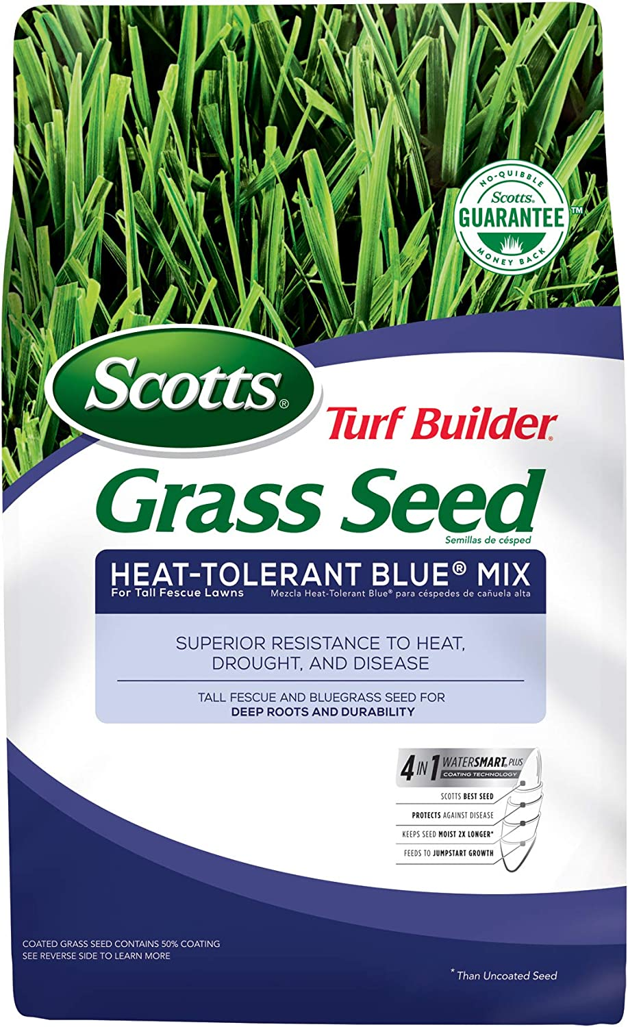 Scotts Turf Builder Grass Seed Heat-Tolerant Blue Mix For Tall Fescue Lawns, 7 lb. - Full Sun and Partial Shade - High Drought Resistance - Seeds up to 1,750 sq. ft.