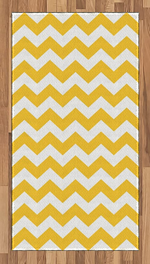 Amazon Com Ambesonne Yellow Chevron Area Rug Modern Summer Season Pattern Zigzag Tile Design Wavy Horizontal Motif Flat Woven Accent Rug For Living Room Bedroom Dining Room 2 6 X 5 Yellow And White