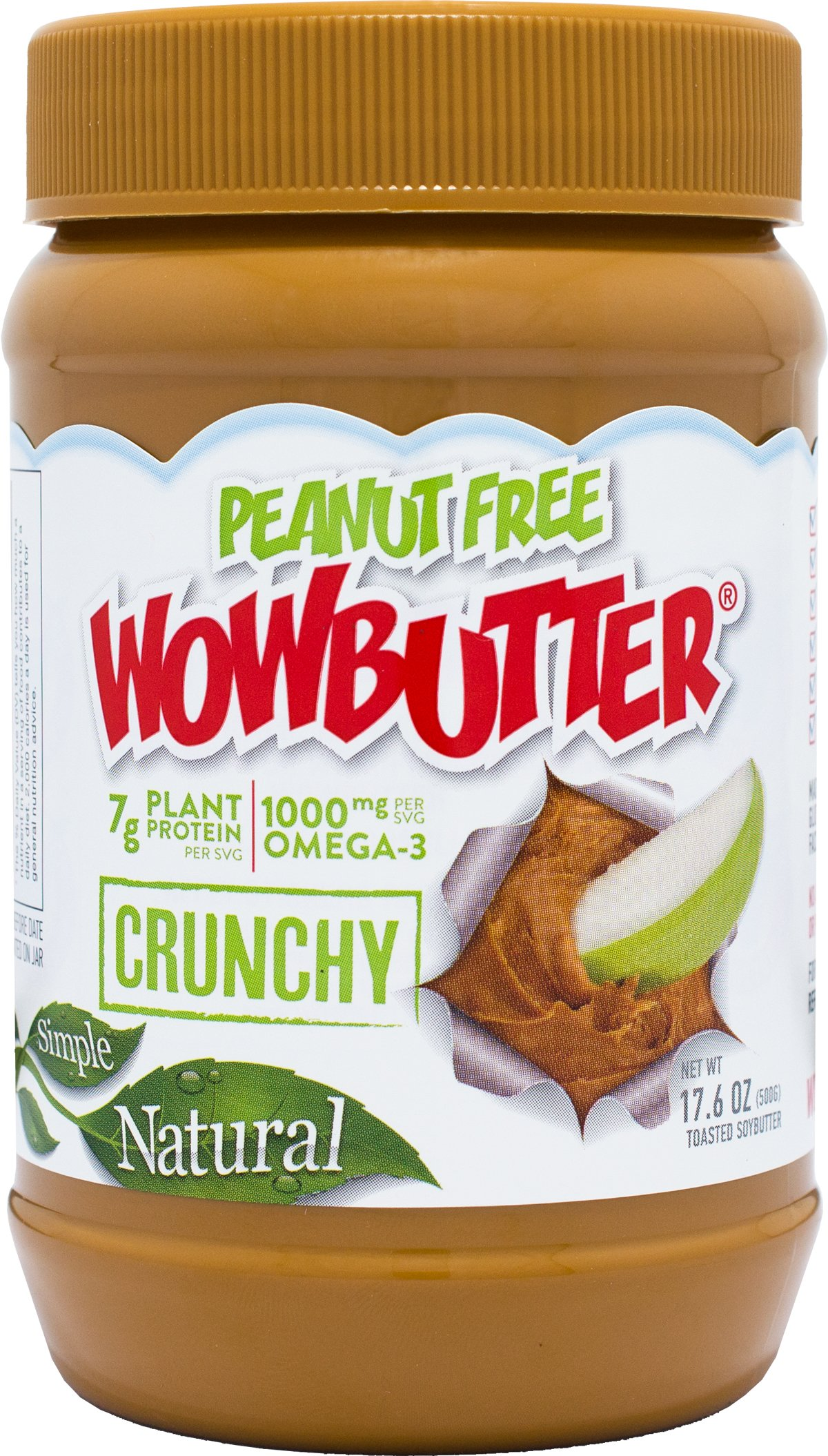 WOWBUTTER Natural Peanut Free Crunchy 6x1.1lb Jars