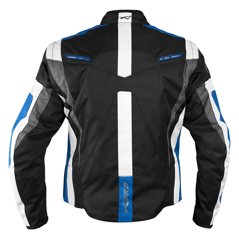 Giacca Tessuto Moto Protezioni CE Manica Staccabile Gilet Termico Blu XXL