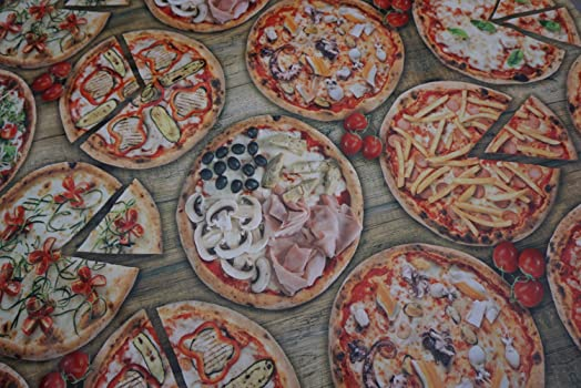 PRESTIGE FABRICS Pizza Bar Parlour PVC Oilcloth Fabric Vinyl Kitchen Table  Covers Wipe Clean Waterproof Tablecloth