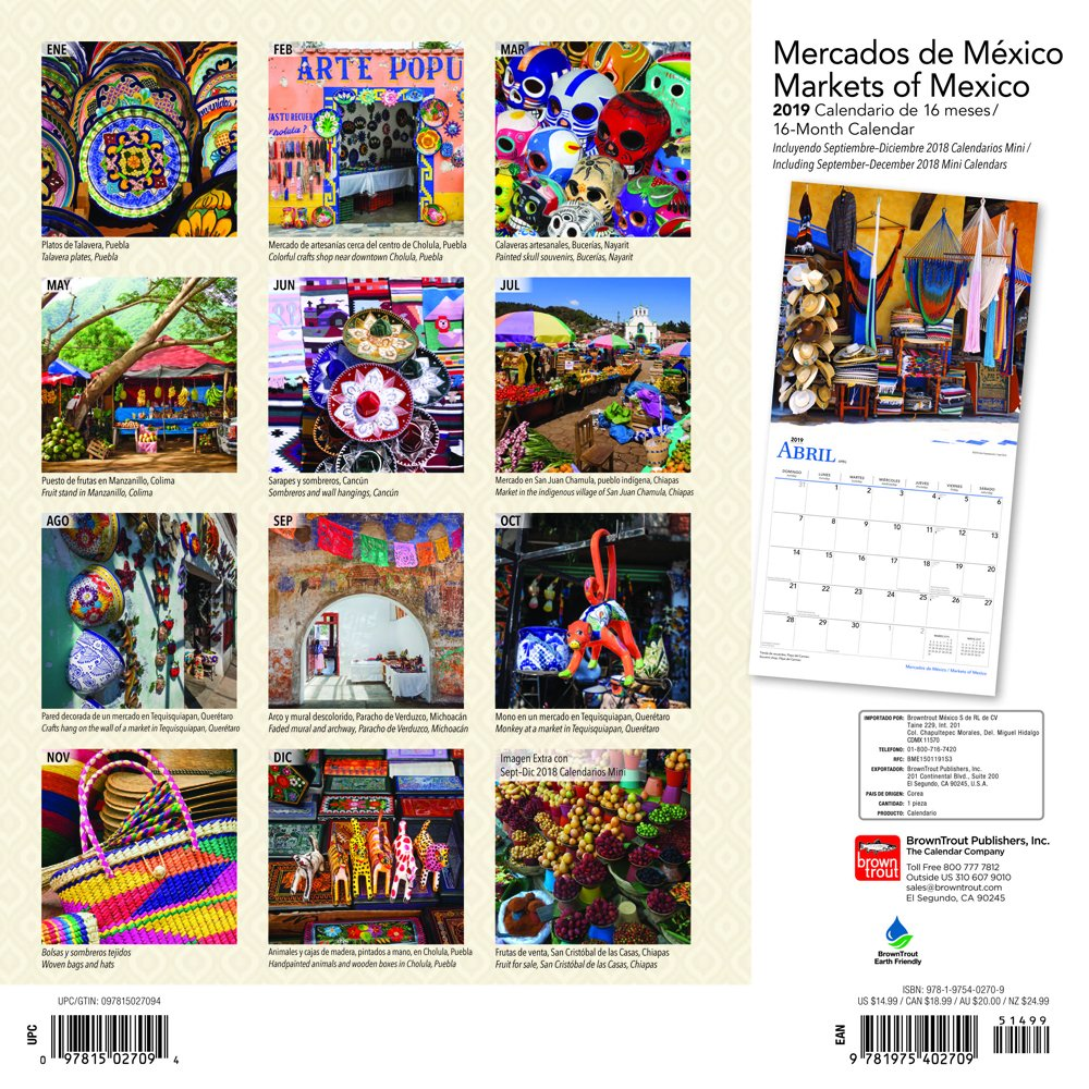 Mercados De Mexico/ Markets of Mexico 2019 Calendar (English and Spanish Edition): BrownTrout Publishers Inc.: 9781975402709: Amazon.com: Books