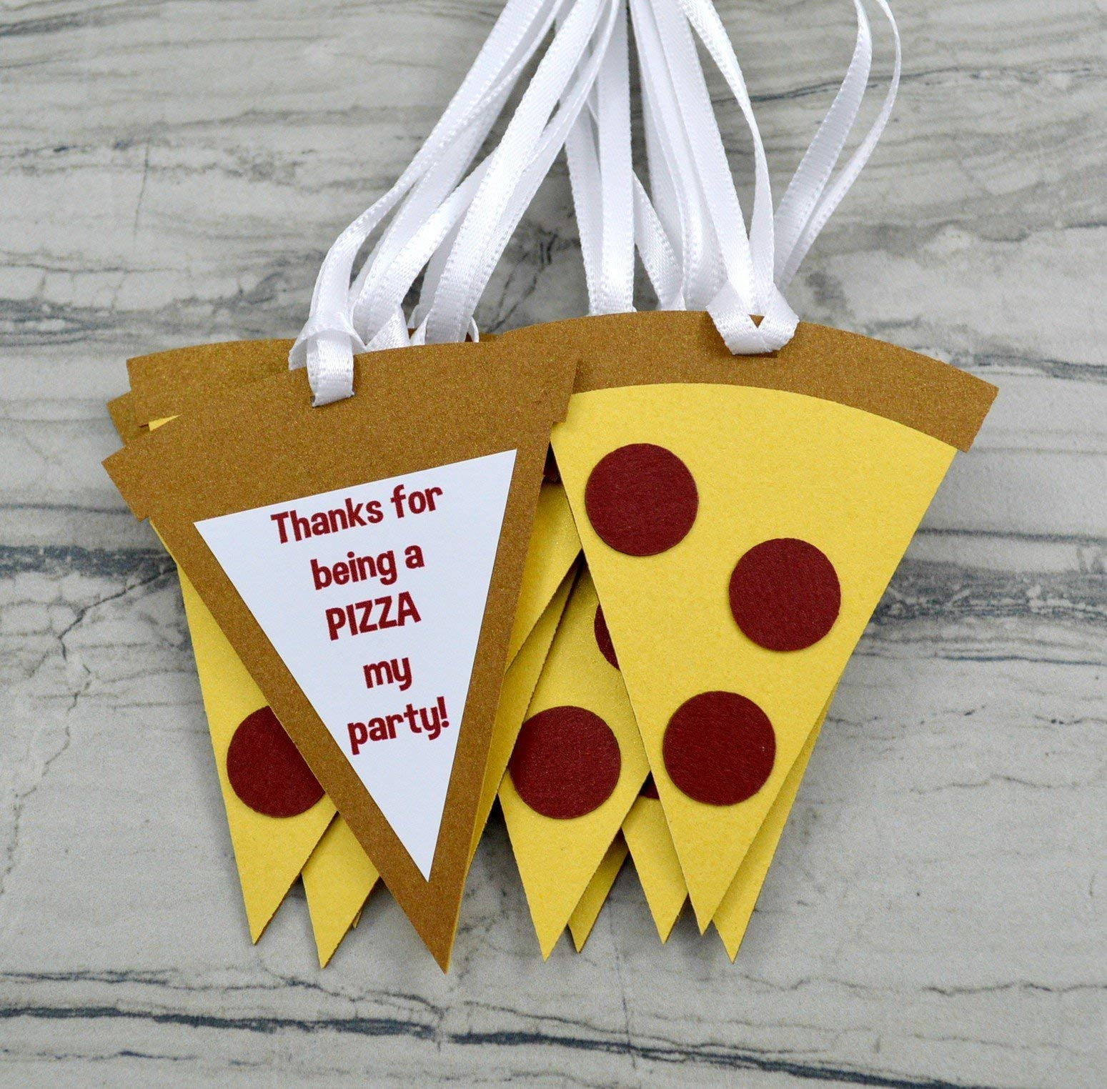 Pizza Party Thank You Favor Tags - Set of 12
