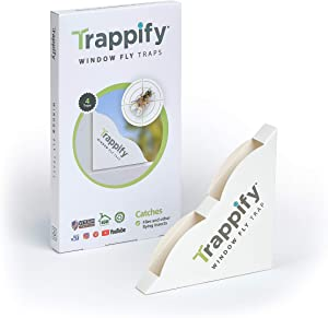 Trappify Indoor Window Fly Traps: Window Fly Trap for Indoor Home Pest Control - Fly, Gnat, and Other Flying Insect Killer with Extra Sticky Adhesive Strips - Disposable Fly and Bug Catcher (4)