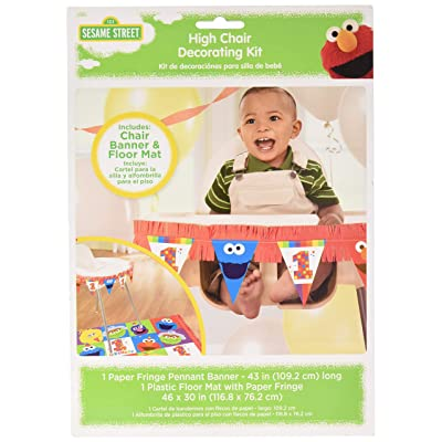 amscan 1st Birthday High Chair Decorating Kit Party Supplies Elmo Sesame Street Fun to Be One! One Size, Multicolor: Toys & Games