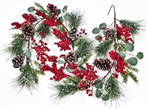 6Ft Christmas Garland with Pinecones Berries Eucalyptus Leave Vine Floral Table Runner for Wedding Arch Swag Backdrop Christmas Décor