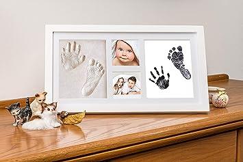 Marco de Fotos de Mano y Huella de Bebé con Kit de Arcilla y Tinta para